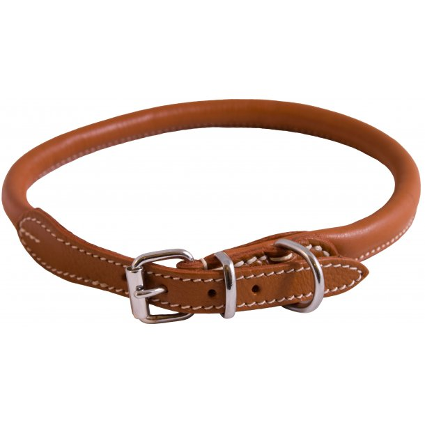 Hundehalsbånd i blødt læder, lysebrun