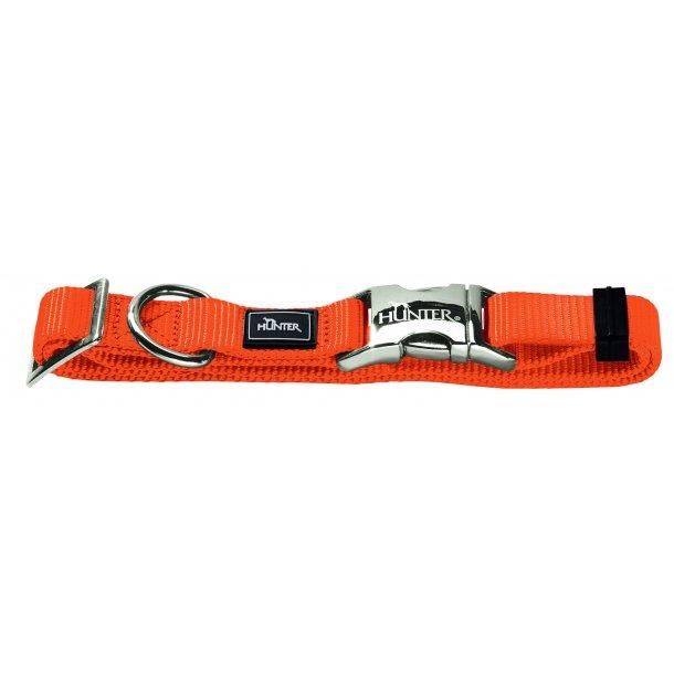HUNTER hundehalsbånd m/aluminium spænde - orange