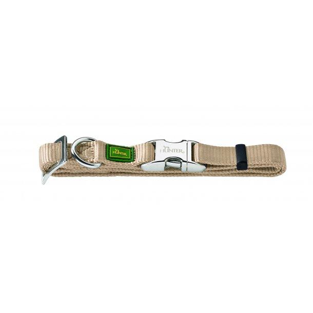 HUNTER hundehalsbånd m/aluminium spænde - beige